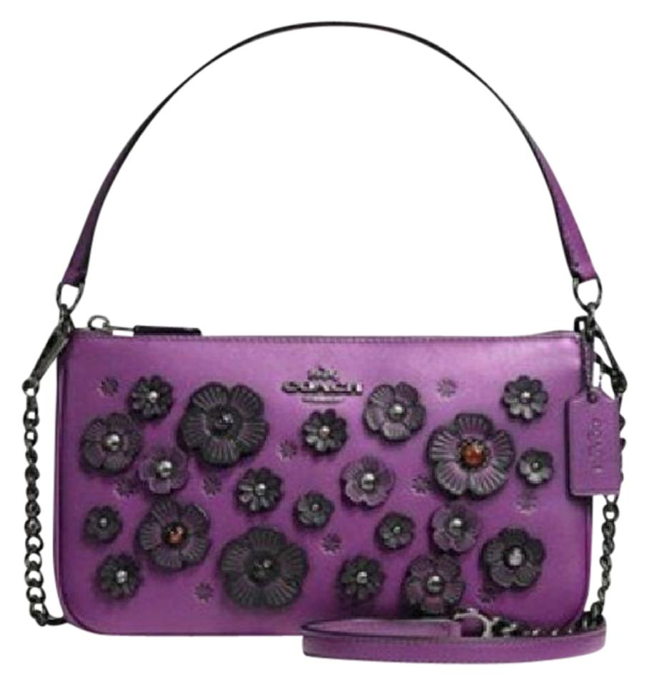53ca9e07bd5f Coach Nolita 24 with Floral Appliques Aubergine Purple Smooth Calf Leather  Cross Body Bag