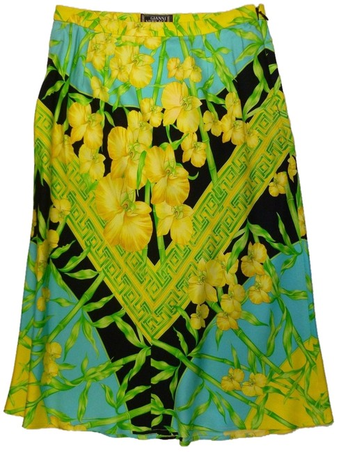 Versace Couture Vintage Silk Floral Print Green A-line Xs 2 Skirt Multi-Color