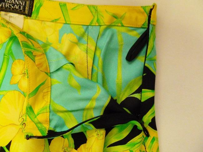 Gianni Versace Couture Vintage Silk Floral Print Green A-line Xs 2 Skirt Multi-Color