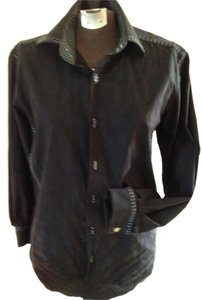 Bugatchi Boyfriend Shirt Men Small Dress Shirt Boyfriend Overshirt Italian Cotton With White Ladies Shirt Top Black