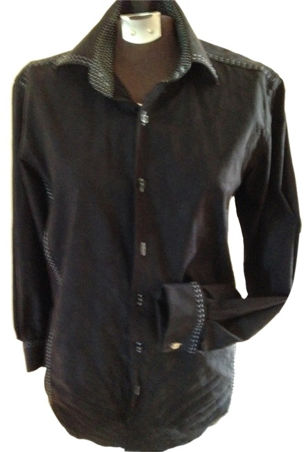 Preload https://item2.tradesy.com/images/bugatchi-black-boyfriend-shirt-men-small-dress-shirt-boyfriend-overshirt-italian-cotton-with-white-l-2116211-0-0.jpg?width=400&height=650