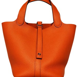 Hermès Picotin Clemence Leather Tote in Fire Orange