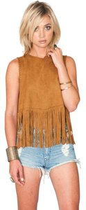 Show Me Your Mumu Boho Fringe Suede Hippie Top Foxy Brown
