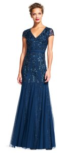 Adrianna Papell Beaded V-neck Evening Cap Sleeves Gown Dress