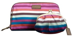 Coach LEGACY STRIPE SATIN Cosmetic Bag (NWOT) + Matching Coin Purse (EUC)