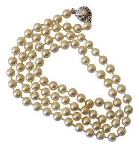 Other Vintage Japan Kai Pearl Necklace with Silver Clasp - Excellent Conditi