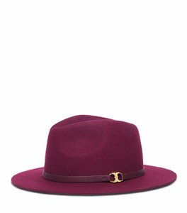 Tory Burch NEW Tory Burch gold logo Gemini Link Fedora felt Hat Wine Red