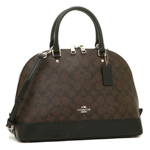 Coach Structured Dome Zip Top Strap Black Leather Satchel in Monogram