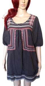 Free People short dress Black and White Multi Cotton Tunic Short Sleeve on Tradesy