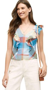 Anthropologie Drive In Plaid Flutter Maeve Ruffle Top MULTI