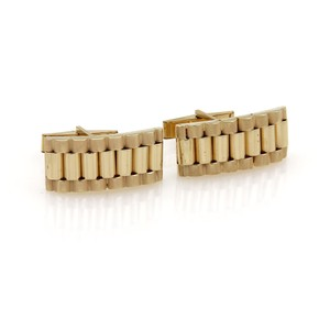 Other #19125 Estate 14k Yellow Gold Fancy Long Link Style Cufflinks