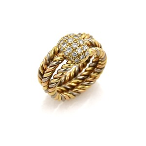 Cartier #19062 Cartier Diamond 18k Tri-Color Gold 3 Cable Wire Stack Band Ring