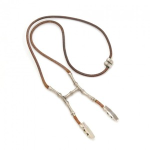 Herms Hermes Bambou Halter Silver Tone H Clip Leather String Necklace HA821