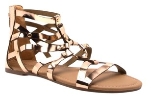 Qupid Metallic Rose Gold Sandals