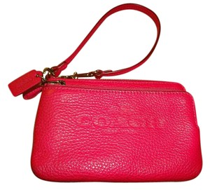 Coach Universal Wallet Cell Phone L-zip Double Pocket Hot Wristlet in Pink