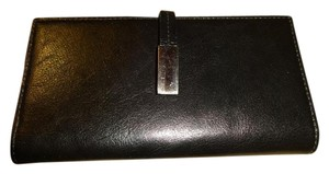 Wilsons Leather Black Smooth Polished Leather Bifold Checkbook Wallet