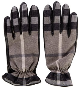 Burberry Taupe, black metallic canvas Burberry Smoked Check gloves 7.5