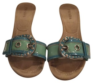 Prada Light Green and Turquoise Sandals