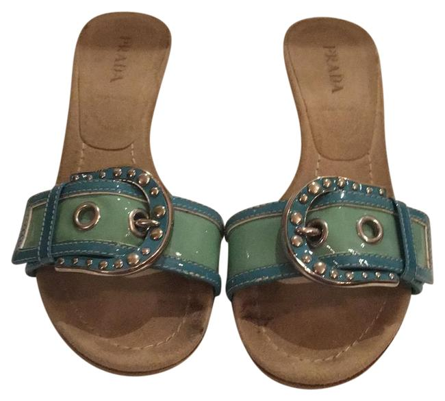 Item - Light Green and Turquoise Buckle Slide Sandals Size EU 37 (Approx. US 7) Regular (M, B)