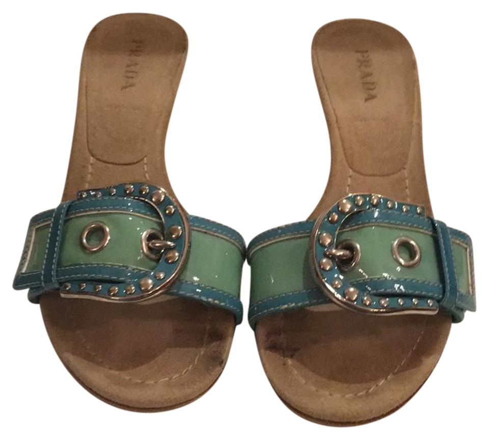 359d5158ae6 Prada Light Green and Turquoise Buckle Slide Sandals Size EU 37 ...