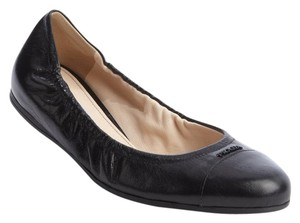 Prada Leather Logo Black Flats