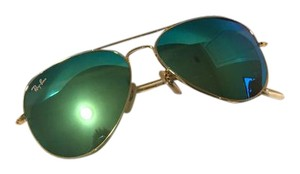 Ray-Ban Ray Ban Aviator Sunglasses Rb3025 Gold Frame Green Reflector 58mm Lens