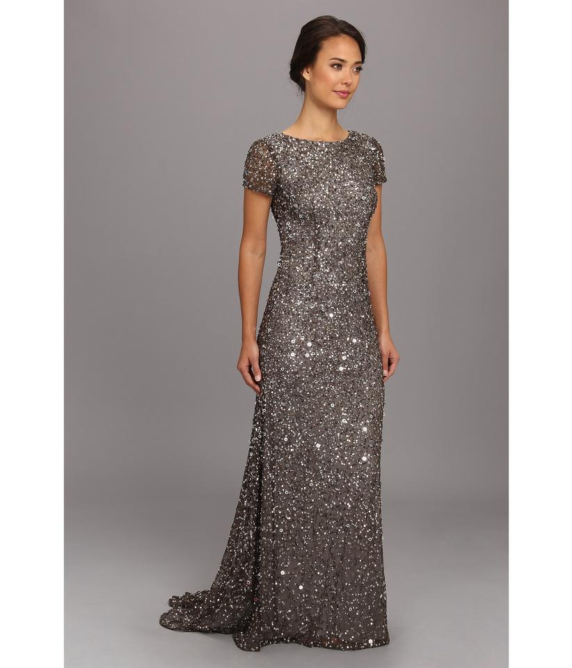 Adrianna Papell Lead Short Sleeve Scoop Back Embellished Sequin Gown ...