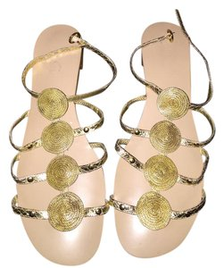 Nine West Studded Gold Sandals
