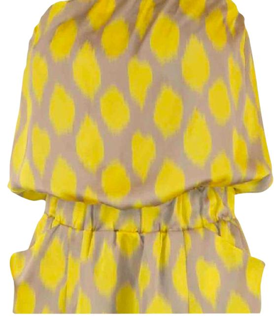 Item - Taupe/Silver and Yellow Sleeveless/ Mid-length Night Out Dress Size 8 (M)