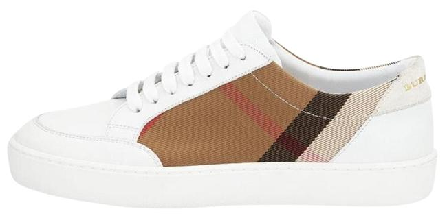 Item - White with Check Print Canvas and Leather Sneakers Size US 9 Regular (M, B)