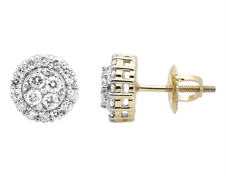 cdd3189b8fdcd 10k Yellow Gold Halo Scallop Frame Round Genuine Diamond 7mm Stud 1.0ct  Earrings 71% off retail