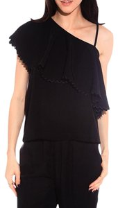 Rodebjer One Shoulder Ruffle Twill Top Rodebjer