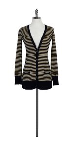 Joie Navy & Tan Striped Cashmere Sweater