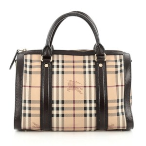 Burberry Bowling Canvas Leather Satchel