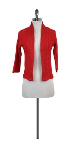 Theory Red Open Front Cotton Cardigan