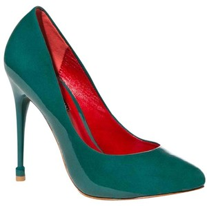 Charles Jourdan Patent Patent Leather Teal Pumps