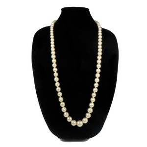 Chanel PEARL NECKLACE VINTAGE GRADUATED BEADS CHARM CHAIN CC LOGO AUTHENTIC