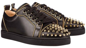 Christian Louboutin Studs Studded Leather Black, gold Athletic