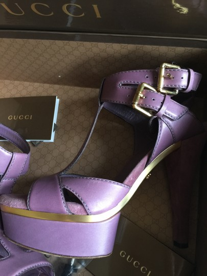 Gucci Ankle Strap Gold Hardware Purple Platforms