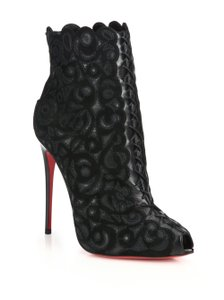 Christian Louboutin Suede Embroidered Lace Up Black Boots