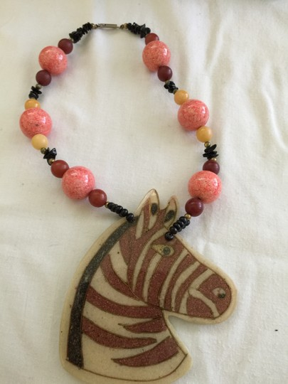Other Lee Sands horse zebra head necklace with beads new in box