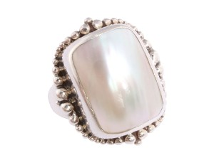 Stephen Dweck Sterling Silver & Mabe Pearl Ring