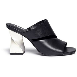 Opening Ceremony Metallic Leather Black, silver Mules