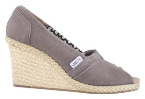 TOMS Taupe Canvas Espadrille Open Toe Wedges