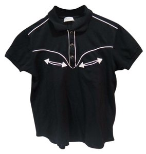 Saint Laurent Western Polo Embroidered T Shirt Black, white