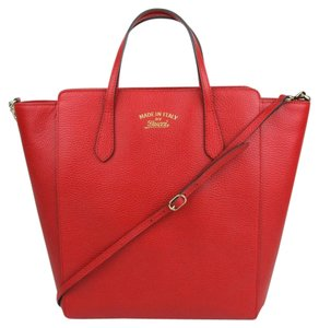 a51184e7 Gucci Leather Zip Top Tote in Red