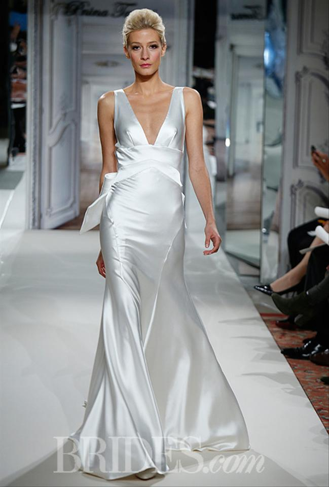 Pnina Tornai White Satin Bridal Gown Modern Wedding Dress Size 2 (XS ...