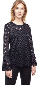 Ann Taylor Geo Lace Fluted Bell Sleeves Top Navy