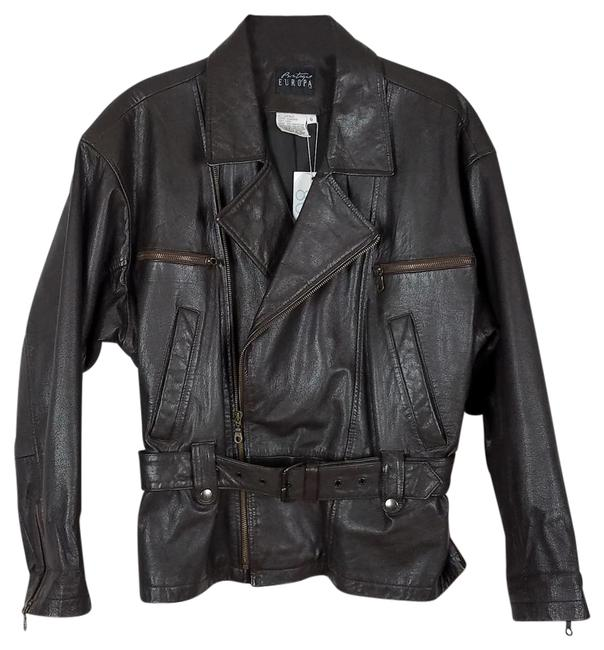 Boutique Europa Motorcycle Size 6 black Leather Jacket