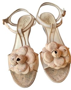Chanel Tstrap Camellia Cc Wedge Ankle Strap Nude Sandals